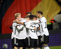 19th November 2019, Frankfurt, Germany; 2020 European Championships qualification, Germany versus Northern Ireland; Goal celebration for 3 1 to Germany by Serge Gnabry Germany