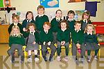 Scoil Naomh Eoin Baiste, Lios Po?il, Junior Infants pupils excited to start school. Front from left: Theo O? Coileain, Hannah Ni? Dhubhain, Mi?cheal O? Dubhain, Leanne Ni? Dhomhnaill, Tom O? Neachtain, Treacy Nic Cormaic. Back from left: Gemma Ni? Shuilleabhain, Me?bh Ni? Dhubhda, Padraig O? Muircheartaigh, Ro?nan O? Conchu?ir, Tadgh O? Cathail, Ella Ni? Ainife?in.