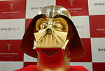 April 25, 2017, Tokyo, Japan - Japan's jeweler Tanaka Kikinzoku jewelry displays a pure gold made Darth Vader mask, weighing 10kg and priced 154 million yen (1.4 million US dollars) at their Ginza shop in Tokyo on Ruesday, April 25, 2017. The mask will be on sale on May 4th, to celebrate the day of Star Wars as May the Fourth in the movie.   (Photo by Yoshio Tsunoda/AFLO) LwX -ytd-
