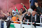 Grimsby Town fans celebrate the opening goal against Eastleigh Football Club during the Vanamara Conference Play Off Semi Final First Leg match between Eastleigh and Grimsby Town at The Silverlake Stadium, Eastleigh<br /> Picture by David Horn/eXtreme aperture photography +44 7545 970036<br /> 30/04/2015