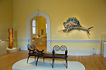 Art exhibits, highlighted by artwork - Game Fish, by Larry Fuente, interior, Renwick Gallery, a branch of the Smithsonian American Art Museum, Washington DC, USA, (not released), editorial only.