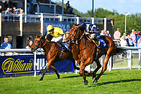 Winner of The Sharp's Doom Bar Handicap Raincall (blue) ridden by Harry Bentley and trained by Henry Candy  during Evening Racing at Salisbury Racecourse on 25th May 2019