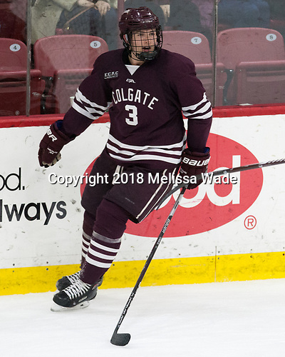 Ken Citron (Colgate - 3) - The visiting Colgate University Raiders shut out the Harvard University Crimson for a 2-0 win on Saturday, January 27, 2018, at Bright-Landry Hockey Center in Boston, Massachusetts.