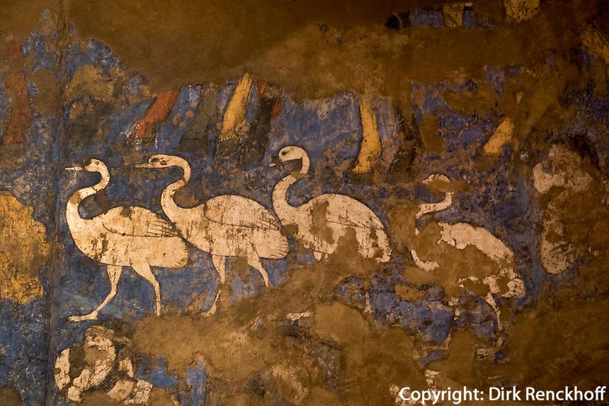 Fresken 7.Jh. im Afrosyob-Museum, Samarkand, Usbekistan, Asien, UNESCO-Weltkulturerbe<br /> frescoes 7.c. in Afrosyob Museum, Samarkand,  Uzbekistan, Asia, UNESCO heritage site