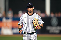 New York Yankees Zack Zehner (63) jogs to the dugout during a Spring Training game against the Toronto Blue Jays on February 22, 2020 at the George M. Steinbrenner Field in Tampa, Florida.  (Mike Janes/Four Seam Images)