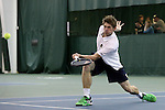 13 March 2016: Notre Dame's Alex Lawson. The Wake Forest University Demon Deacons hosted the University of Notre Dame Fighting Irish at the Wake Forest Indoor Tennis Center in Winston-Salem, North Carolina in a 2015-16 NCAA Division I Men's Tennis match. Wake Forest won the match 7-0.