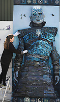 BNPS.co.uk (01202 558833)<br /> Pic: ZacharyCulpin/BNPS<br /> <br /> Ewbank's Saleroom manager, Victoria Drummond  with the centre panel of the embroidery<br /> <br /> A giant Game of Thrones embroidery which was commissioned to promote the popular fantasy TV show has emerged for sale for £3,500.<br /> <br /> The unique 10ft by 10ft piece, titled 'The Hardhome Embroidery', took 140 people over 30,000 hours to stitch together.<br /> <br /> It depicts a battle between the White Walker army and the people of the Wildling town of Hardhome.<br /> <br /> The Night King is the central figure, with his eyes illuminated by LED lights. Four insects feature in the design and the border includes the crests of the houses of Stark, Arryn, Targaryen, Martell, Tully, Baratheon, Greyjoy, Tyrell and Lannister<br /> <br /> The intricate needlework was produced in 2016 to promote the DVD release of the show's fifth series. It is being sold with auctioneer Ewbank's, of Woking, Surrey.