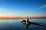 Floating dock at sunrise, Crackatuxet Cove, South Beach, Martha's Vineyard, Massachusetts, USA