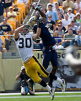 September 20, 2008: Pitt wide receiver T.J. Porter jumps high but can't make the catch as Iowa defensive back Brett Greenwood defends. The Pitt Panthers defeated the Iowa Hawkeyes 21-20 on September 20, 2008 at Heinz Field, Pittsburgh, Pennsylvania.