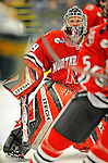 18 January 2008: Northeastern University Huskies' goaltender Brad Thiessen, a Sophomore from Aldergrove, British Columbia, in action against the University of Vermont Catamounts at Gutterson Fieldhouse in Burlington, Vermont. The two teams battled to a 2-2 tie in the first game of their 2-game weekend series...Mandatory Photo Credit: Ed Wolfstein Photo