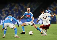 5th July 2020; Stadio San Paolo, Naples, Campania, Italy; Serie A Football, Napoli versus Roma; Fabian Ruiz of Napoli watches as Ibanez of Roma plays the ball across him