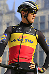 Belgian National Champion Yves Lampaert (BEL) Deceuninck-Quick Step on stage at the team presentation in Antwerp before the start of the 2019 Ronde Van Vlaanderen 270km from Antwerp to Oudenaarde, Belgium. 7th April 2019.<br /> Picture: Eoin Clarke | Cyclefile<br /> <br /> All photos usage must carry mandatory copyright credit (&copy; Cyclefile | Eoin Clarke)