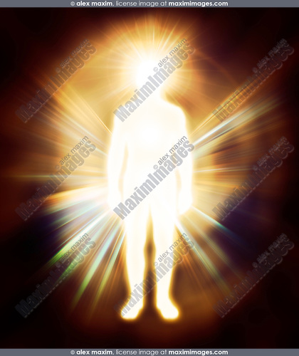 Glowing human energy body Qi energy emanations. Man as luminous being, aura, spiritual concept
