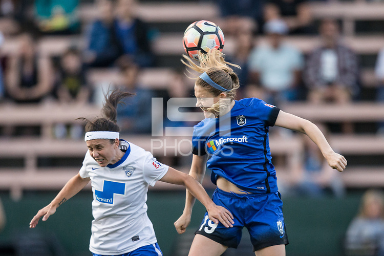 Seattle, WA - Saturday July 15, 2017: Tiffany Weimer, Kristen McNabb during a regular season National Women's Soccer League (NWSL) match between the Seattle Reign FC and the Boston Breakers at Memorial Stadium.
