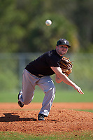Plymouth State Panthers starting pitcher Cam Cossette (3) delivers a pitch during the second game of a doubleheader against the Edgewood Eagles on March 17, 2016 at Lee County Player Development Complex in Fort Myers, Florida.  Plymouth State defeated Edgewood 16-3.  (Mike Janes/Four Seam Images)