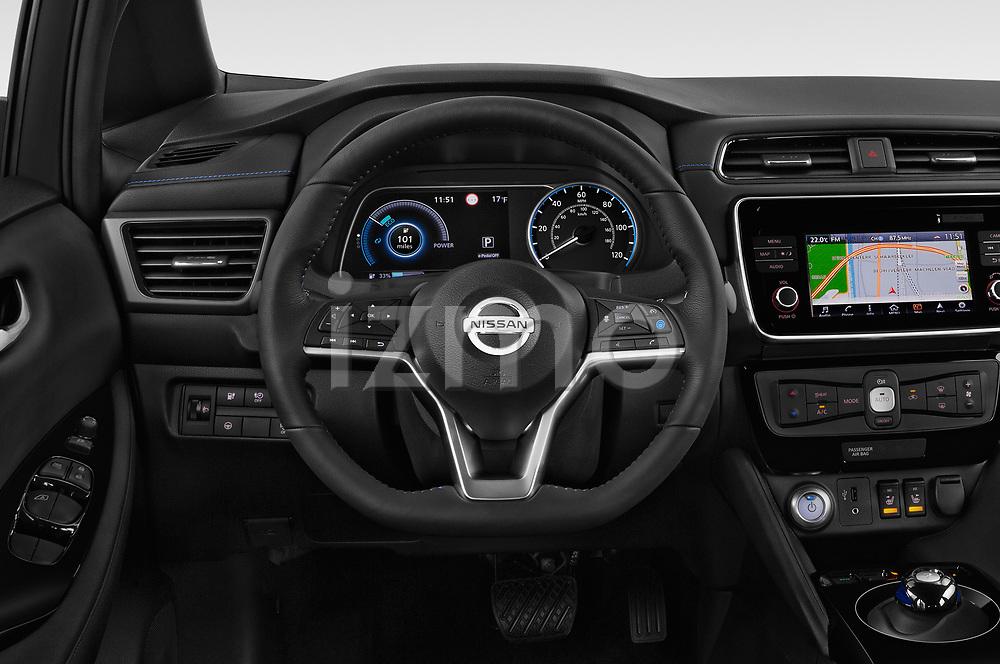 Car pictures of steering wheel view of a 2018 Nissan Leaf SV 5 Door Hatchback