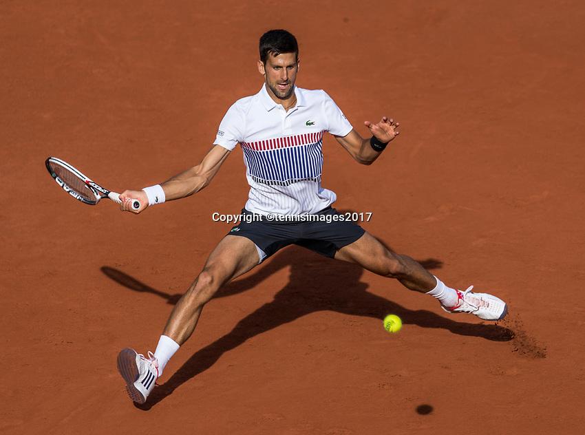 Paris, France, 4 June, 2017, Tennis, French Open, Roland Garros,  Novak Djokovic (SRB)<br /> Photo: Henk Koster/tennisimages.com