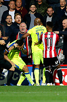 Joe Ledley of Derby County recoils as if struck during the Sky Bet Championship match between Brentford and Derby County at Griffin Park, London, England on 26 September 2017. Photo by Carlton Myrie / PRiME Media Images.