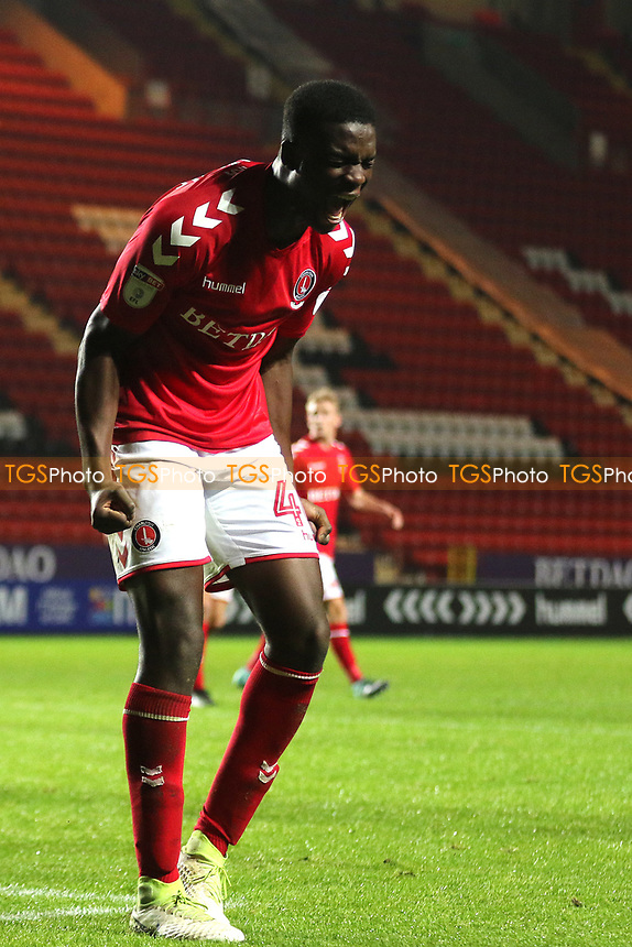 Jo Cummings celebrates Charlton's second goal scored by Joe Dodoo during Charlton Athletic vs Fulham Under-21, Checkatrade Trophy Football at The Valley on 1st November 2017