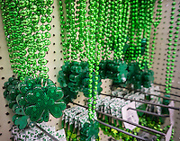 St. Patrick's Day accessories for sale in a store in New York on Tuesday, March 8, 2016. According to the National Retail Federation's St. Patrick's Day survey Americans will spend slightly less money on the holiday this year, an average of $35.40 as opposed to last year's $36.50 per person. (© Richard B. Levine)