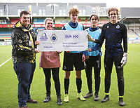 20191211- Ostend: Brugge (left to right) Jules Van Bost, Lynnt Audoor and goal keeper Sef Van Damme players  are pictured with a cheque to Zeepreventorium De Haan at the start of the UEFA Youth League Group A football match between Club Brugge and Real Madrid on Wednesday 11th December 2019 at Versluys Arena, Ostend, Belgium. PHOTO: SEVIL OKTEM | Sportpix.be