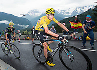 Picture by Alex Broadway/ASO/SWpix.com - 22/07/16 - Cycling - Tour de France 2016 - Stage Nineteen - Albertville to Saint-Gervais Mont Blanc - Chris Froome of Great Britain and Team Sky in action after a crash earlier in the stage.<br /> NOTE : FOR EDITORIAL USE ONLY. COMMERCIAL ENQUIRIES IN THE FIRST INSTANCE TO simon@swpix.com THIS IS A COPYRIGHT PICTURE OF ASO. A MANDATORY CREDIT IS REQUIRED WHEN USED WITH NO EXCEPTIONS to ASO/ALEX BROADWAY