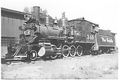 3/4 fireman's-side view of D&amp;RGW #340 beside the Montrose engine house.<br /> D&amp;RGW  Montrose, CO