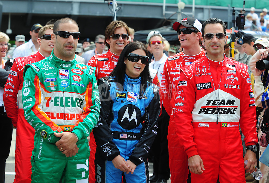 May 25, 2008; Indianapolis, IN, USA; IRL drivers (from left) Tony Kanaan, Danica Patrick and Helio Castroneves during the 92nd running of the Indianapolis 500 at the Indianapolis Motor Speedway. Mandatory Credit: Mark J. Rebilas-