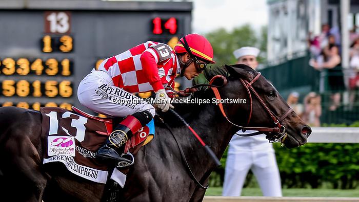May 3, 2019 : Serengeti Empress, #13, ridden by Jose L Ortiz, wins the Longines Kentucky Oaks on Kentucky Oaks Day at Churchill Downs on May 3, 2019 in Louisville, Kentucky. Mary Meek/Eclipse Sportswire/CSM