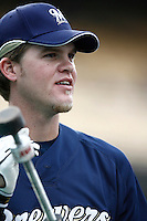 Corey Hart of the Milwaukee Brewers during batting practice before a game from the 2007 season at Dodger Stadium in Los Angeles, California. (Larry Goren/Four Seam Images)