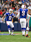 29 November 2009: Buffalo Bills' punter Brian Moorman (8) expresses joy after holding for Rian Lindell's 56-yard field goal during a game against the Miami Dolphins at Ralph Wilson Stadium in Orchard Park, New York. The Bills defeated the Dolphins 31-14. Mandatory Credit: Ed Wolfstein Photo