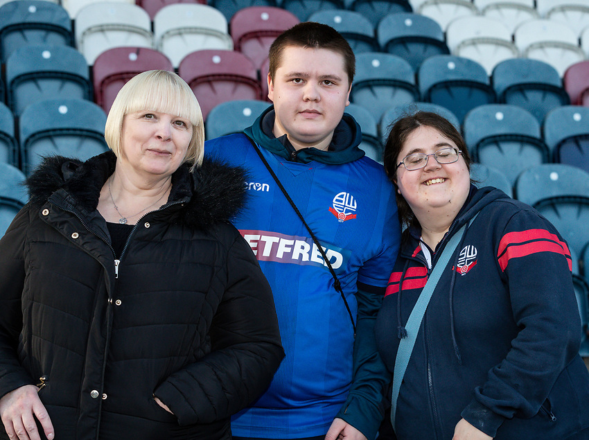 Bolton Wanderers' supporters enjoying the pre-match atmosphere<br /> <br /> Photographer Andrew Kearns/CameraSport<br /> <br /> The Carabao Cup First Round - Rochdale v Bolton Wanderers - Tuesday 13th August 2019 - Spotland Stadium - Rochdale<br />  <br /> World Copyright © 2019 CameraSport. All rights reserved. 43 Linden Ave. Countesthorpe. Leicester. England. LE8 5PG - Tel: +44 (0) 116 277 4147 - admin@camerasport.com - www.camerasport.com