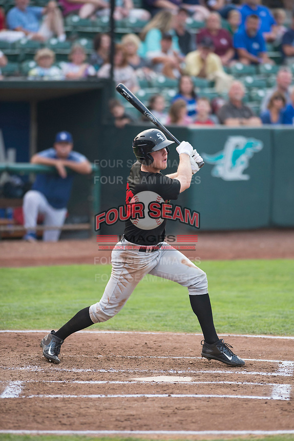 Great Falls Voyagers right fielder Logan Sowers (29) follows through on his swing during a Pioneer League against the Ogden Raptors at Lindquist Field on August 23, 2018 in Ogden, Utah. The Ogden Raptors defeated the Great Falls Voyagers by a score of 8-7. (Zachary Lucy/Four Seam Images)