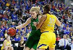 SIOUX FALLS, SD - MARCH 7: Melissa Leet #5 of the North Dakota Fighting Hawks drives around Megan Bultsma #50 of the South Dakota State Jackrabbits at the 2020 Summit League Basketball Championship in Sioux Falls, SD. (Photo by Richard Carlson/Inertia)