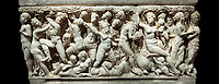 "Roman relief sculpted sarcophagus depicting a scene with Dionysus made in a Greek Attica workshop, 3rd century AD, Perge Inv 1.35.99. Antalya Archaeology Museum, Turkey.<br /> <br /> The lid of the sarcophagus is sculpted into the form of a ""Kline"" style Roman couch on which lie Julianus &  Philiska. This type of Sarcophagus is also known as a Sydemara Type of Tomb. Against a black background."