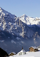 CH, Switzerland, Canton Uri, Urigen: chapel + residential building with Swiss Central Alps