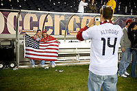 USA Fans and the US Soccer Supporters Club visit the field after  a World Cup Qualifying match at Soldier Field, in Chicago, IL, Saturday, June 6, 2009. The USA 2-1 over Honduras.