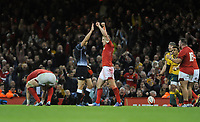 Wales celebrate beating Australia 6-3 at the final whistle <br /> <br /> Photographer Ian Cook/CameraSport<br /> <br /> Under Armour Series Autumn Internationals - Wales v Australia - Saturday 10th November 2018 - Principality Stadium - Cardiff<br /> <br /> World Copyright © 2018 CameraSport. All rights reserved. 43 Linden Ave. Countesthorpe. Leicester. England. LE8 5PG - Tel: +44 (0) 116 277 4147 - admin@camerasport.com - www.camerasport.com