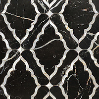 Josephine, a waterjet mosaic shown in Shell and Venetian honed Saint Laurent, is part of the Aurora&trade; Collection by Sara Baldwin for New Ravenna.<br />