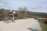 The peloton including Silvan Dillier (SUI) AG2R La Mondiale give chase on sector 8 Monte Santa Maria during Strade Bianche 2019 running 184km from Siena to Siena, held over the white gravel roads of Tuscany, Italy. 9th March 2019.<br /> Picture: Eoin Clarke | Cyclefile<br /> <br /> <br /> All photos usage must carry mandatory copyright credit (© Cyclefile | Eoin Clarke)