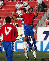 Luis Gil goes up for the header. The Under-17 US Men's National Team defeated Cuba 5-0 at the 2009 CONCACAF Under-17 Championship April 21, 2009 in Tijuana, Mexico.
