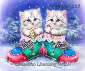 Kayomi, CHRISTMAS ANIMALS, WEIHNACHTEN TIERE, NAVIDAD ANIMALES,cat,cats, paintings+++++,USKH357,#xa#