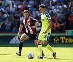 Jack O'Connell of Sheffield Utd stays close to Tom Lawrence of Derby County during the Championship match at Bramall Lane, Sheffield. Picture date 26th August 2017. Picture credit should read: Simon Bellis/Sportimage