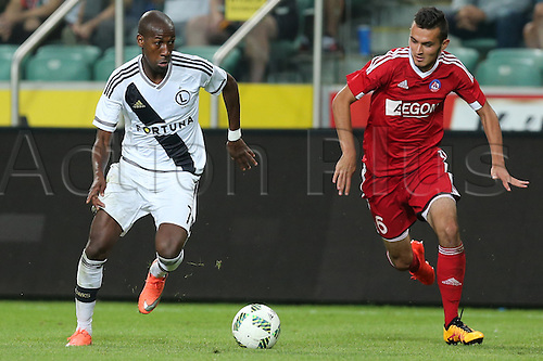 03.08.2016, Warsaw, Poland,  Steeven Langil (Legia), Martin Sulek (Trencin), Legia Warsaw versus AS Trencin, Champions League, qualification. The game  ended in a 0-0 draw with Legio going through on away goal.