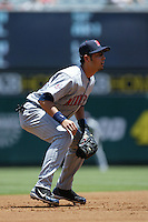 Jason Bartlett of the Minnesota Twins during a 2007 MLB season game against the Los Angeles Angels at Angel Stadium in Anaheim, California. (Larry Goren/Four Seam Images)