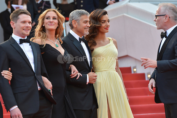 Jack O&yen;Connell, Julia Roberts, George Clooney and his wife Amal and Festival director Thierry Fremaux at the &yen;Money Monster` screening during The 69th Annual Cannes Film Festival on May 12, 2016 in Cannes, France.<br /> CAP/LAF<br /> &copy;Lafitte/Capital Pictures /MediaPunch ***NORTH AND SOUTH AMERICA ONLY***