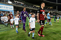 28th February 2020; Netstrata Jubilee Stadium, Sydney, New South Wales, Australia; A League Football, Sydney FC versus Western Sydney Wanderers; Mitchell Duke of Western Sydney Wanderers leads his team onto the pitch before kick off