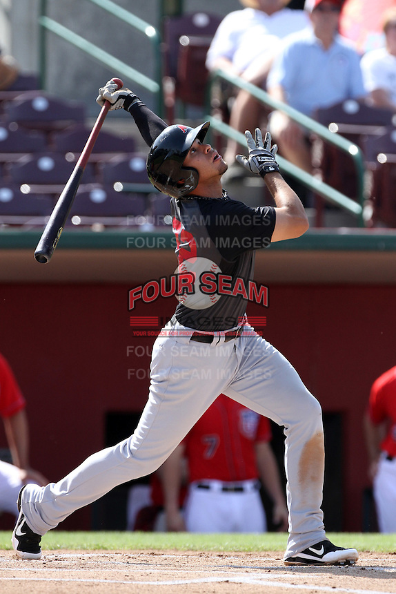 Stefan Romero #22 of the High Desert Mavericks bats against the Inland Empire 66'ers at San Manuel Stadium on April 29, 2012 in San Bernardino,California. Inland Empire defeated High Desert 3-0.(Larry Goren/Four Seam Images)