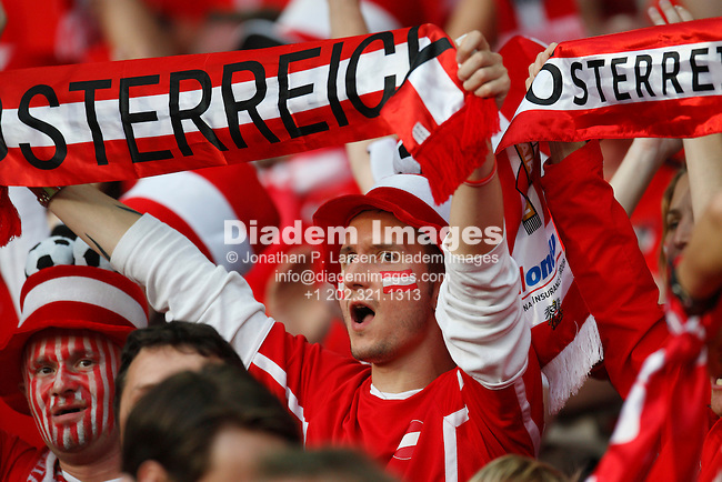 VIENNA - JUNE 16, 2008:  Austrian fans show their support prior to a UEFA Euro 2008 group stage match between Austria and Germany at Ernst-Happel Stadium. (Photograph by Jonathan P. Larsen)