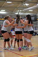 The Queen Margaret's College team huddles during the College Sport Wellington junior volleyball tournament at ASB Sports Centre in Wellington, New Zealand on Saturday, 12 November 2016. Photo: Dave Lintott / lintottphoto.co.nz